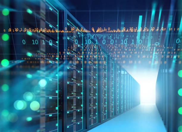 Couloir de la salle des serveurs avec des racks de serveurs dans le datacenter. illustration 3D - Photo