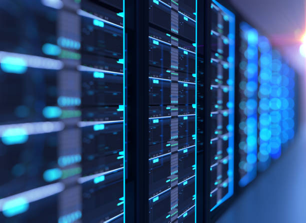 Corridor of  server room with server racks in datacenter. 3d illustration stock photo