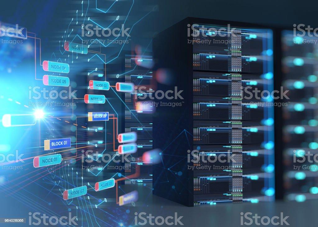 データ センターのサーバー ラックにサーバー ルームの廊下。3 d イラストレーション - eコマースのロイヤリティフリーストックフォト