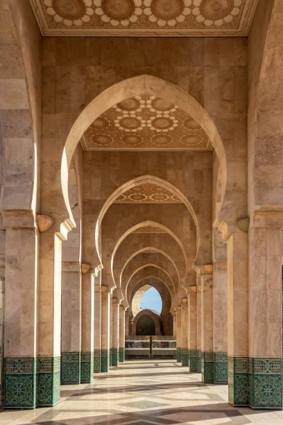 Corridor of the Hassan II mosque in Casablanca, Morocco stock photo