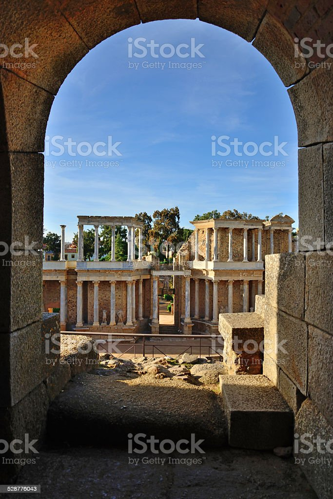 Corridor to the stands of the Roman theater of Mérida. stock photo