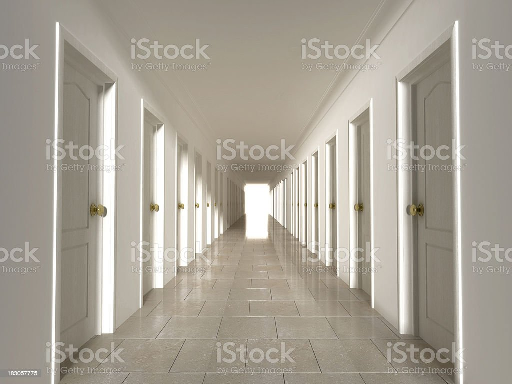Corridor with closed doors royalty-free stock photo