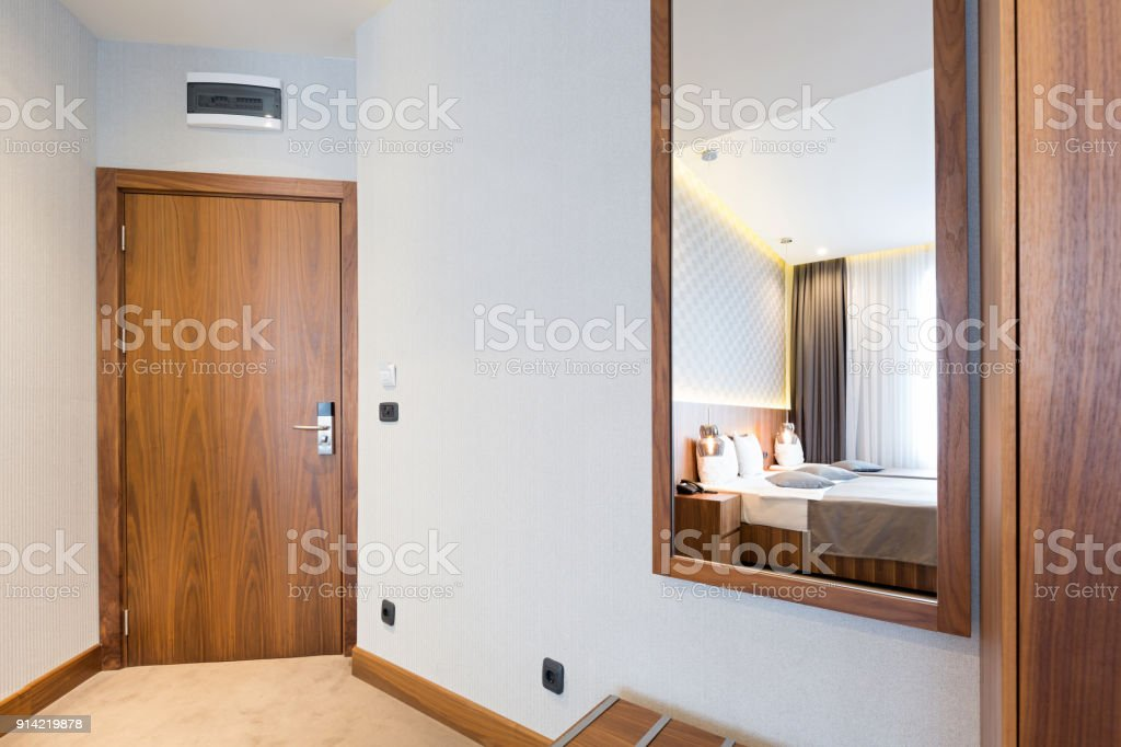 Corridor with closet in hotel room stock photo