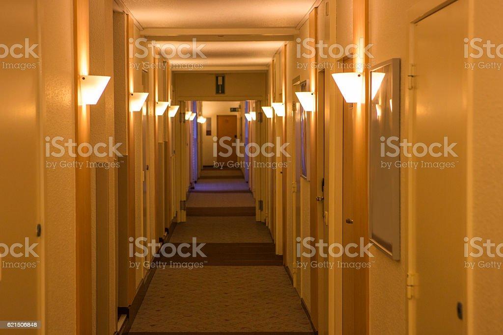 corridor with lamp at building in belgium photo libre de droits