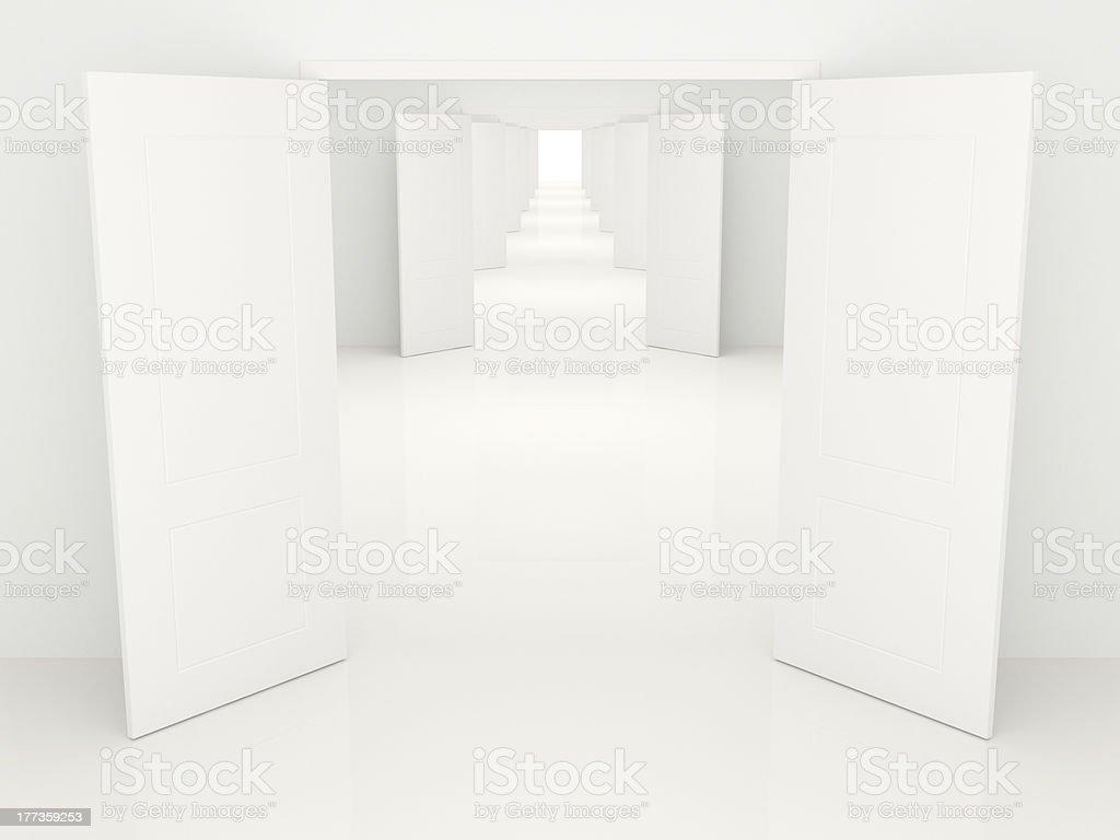 Corridor with open doors royalty-free stock photo