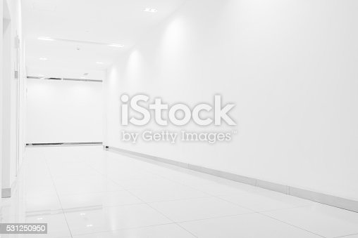 Corridor with white wall