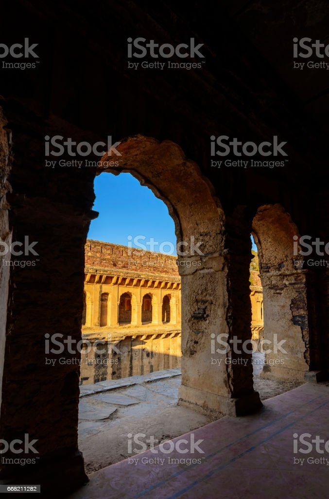 Corridors of a stepwell / baori, situated in a village of Rajasthan stock photo