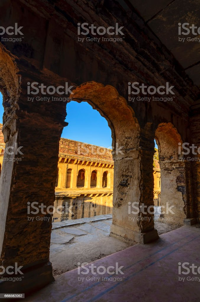 Corridors of a stepwell / baori, situated in an unknown village of Rajasthan stock photo