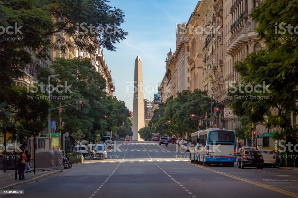 Corrientes Avenue with Obelisk on background - Buenos Aires, Argentina stock photo