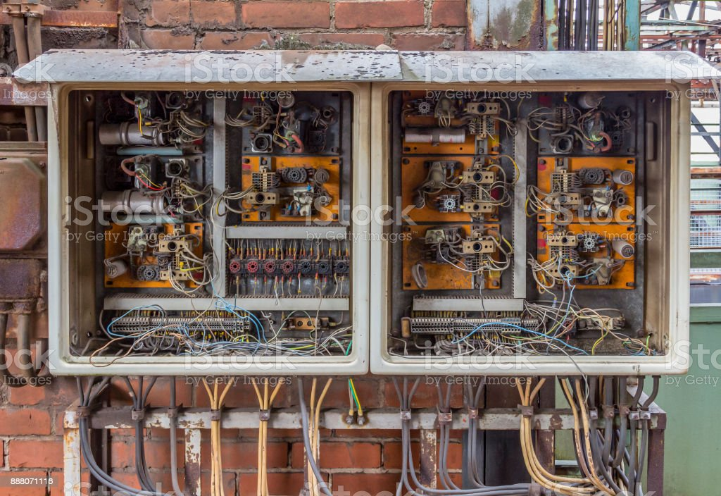 corroded electrical cabinet stock photo