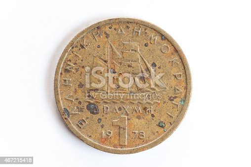 istock Corroded one drachma Greek coin 467215418