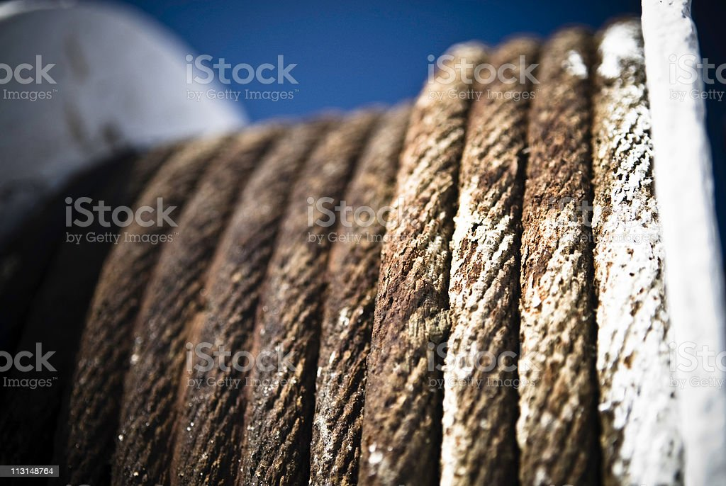 Corroded steel rope stock photo