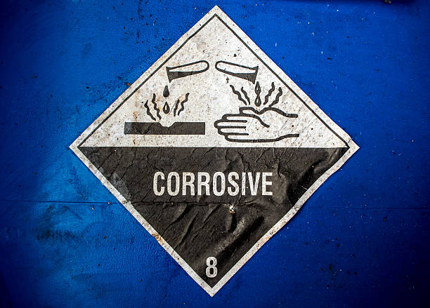 Corrosive material at the acid container stock photo