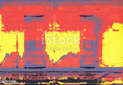 istock Corrugated abstract background. Silk screen on paper and created by scanner. Multicolored background. Modern art. Contemporary art. Abstract art. 879112406