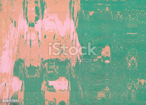 istock Corrugated abstract background. Silk screen on paper and created by scanner. Multicolored background. Modern art. Contemporary art. Abstract art. 879112612
