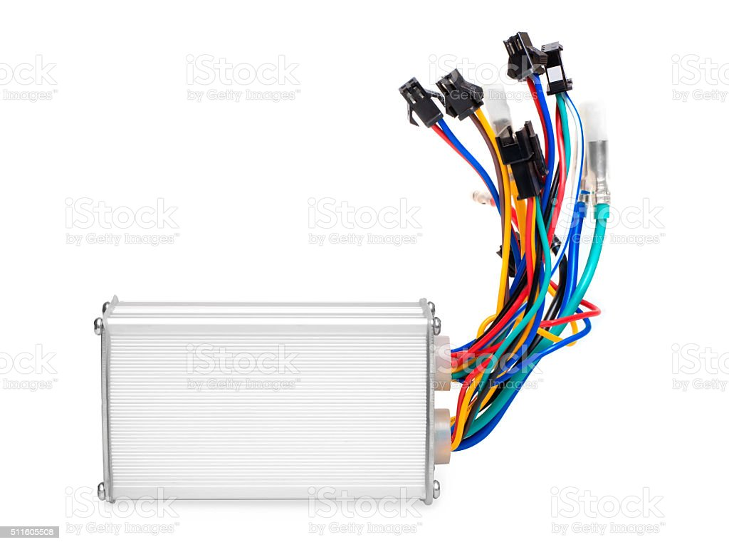 Corrugated aluminum box with colored wires stock photo