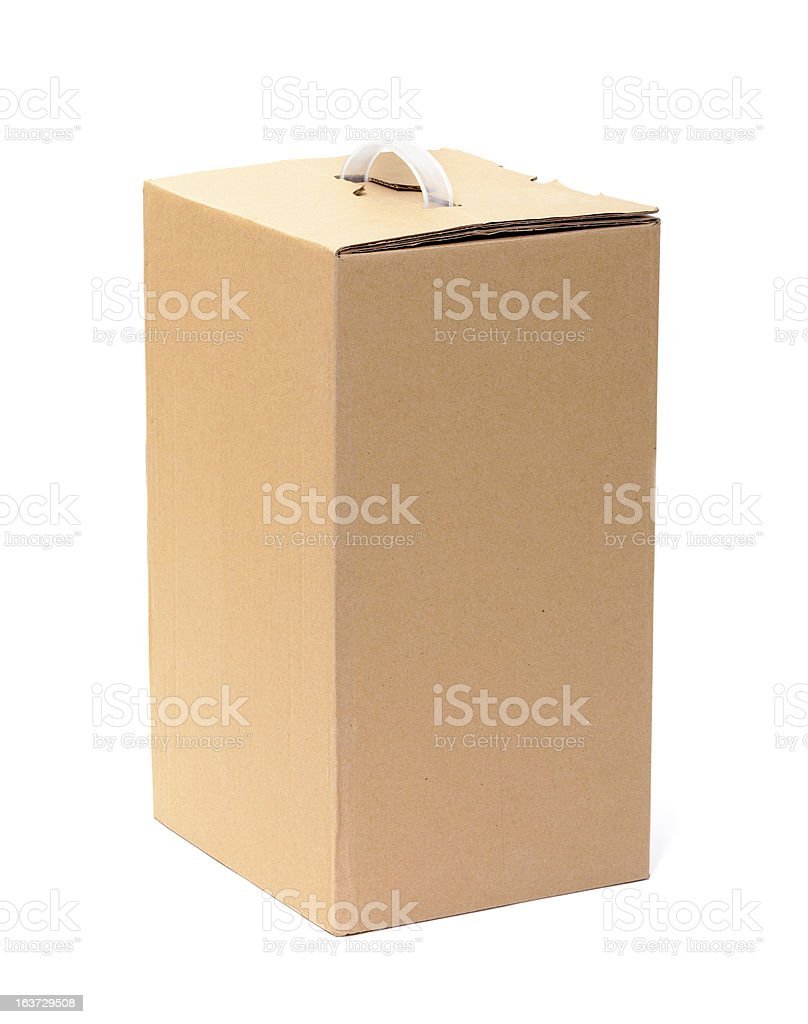 Corrugated Cardboard Box with Handle royalty-free stock photo