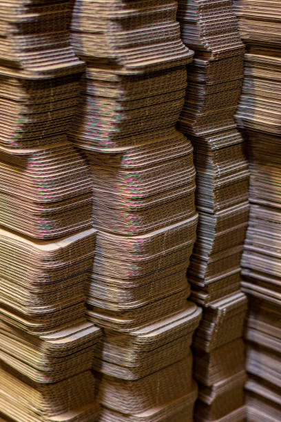Corrugated cardboard boxes flattened stock photo
