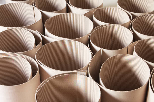 Corrugated cardboard rolls from high angle view stock photo