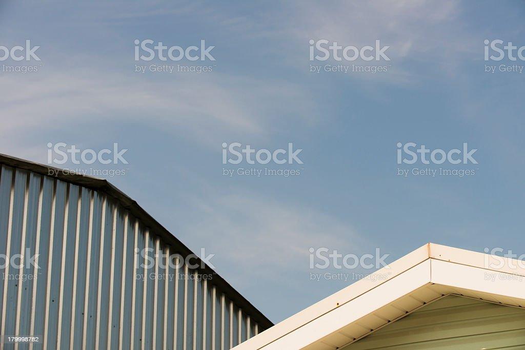 골함석 나무 지붕 royalty-free 스톡 사진