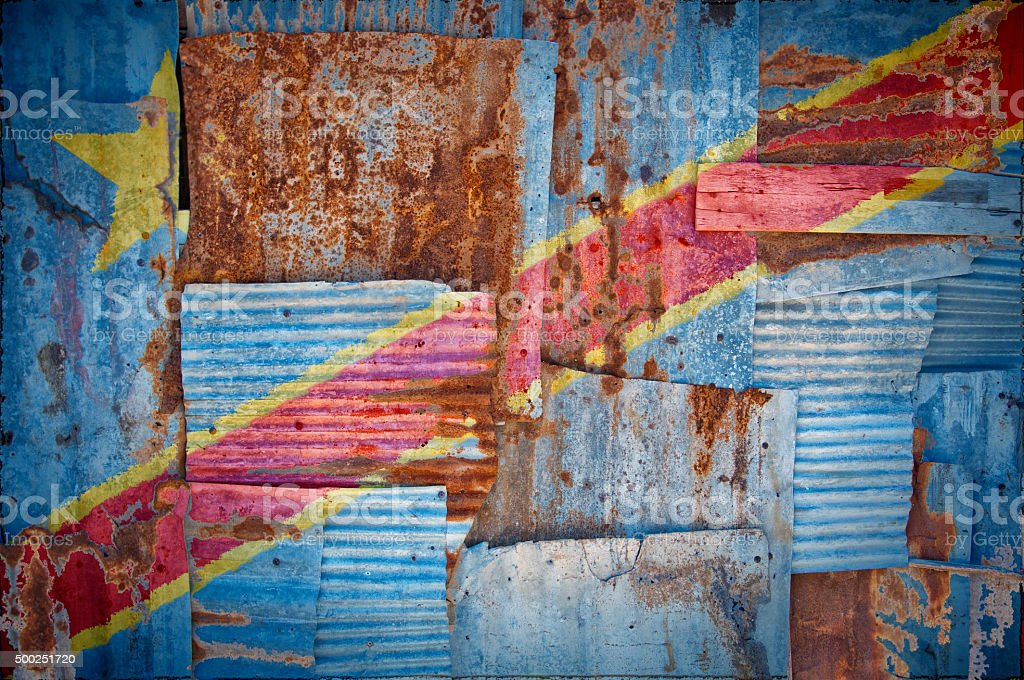 Corrugated Iron Congo Kinshasa Flag stock photo