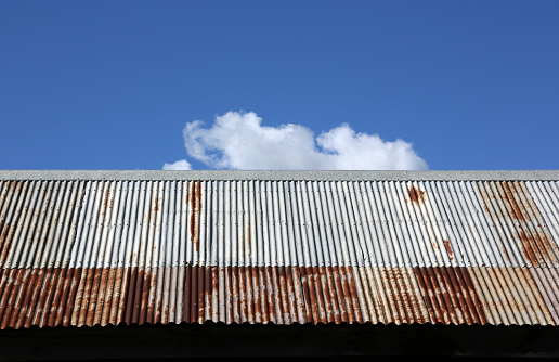 Corrugated Iron Roof again Blue Sky