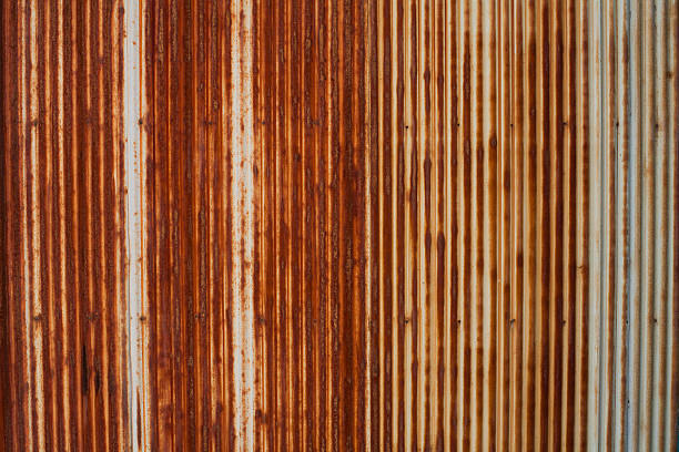 Corrugated Iron, Rusty Metal Texture stock photo