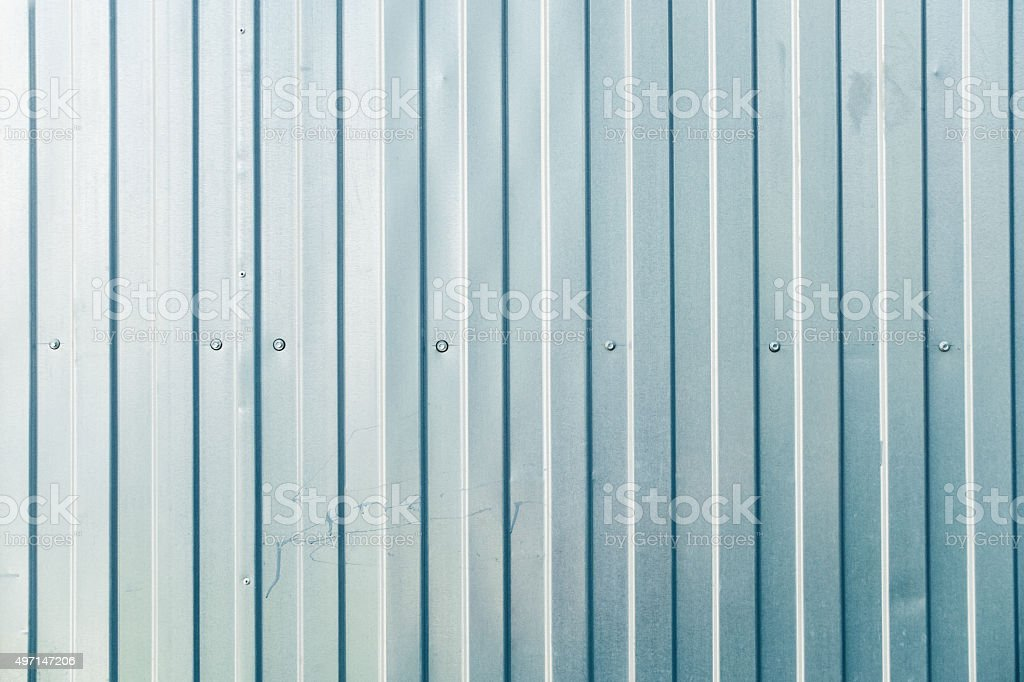 Corrugated metal fence stock photo