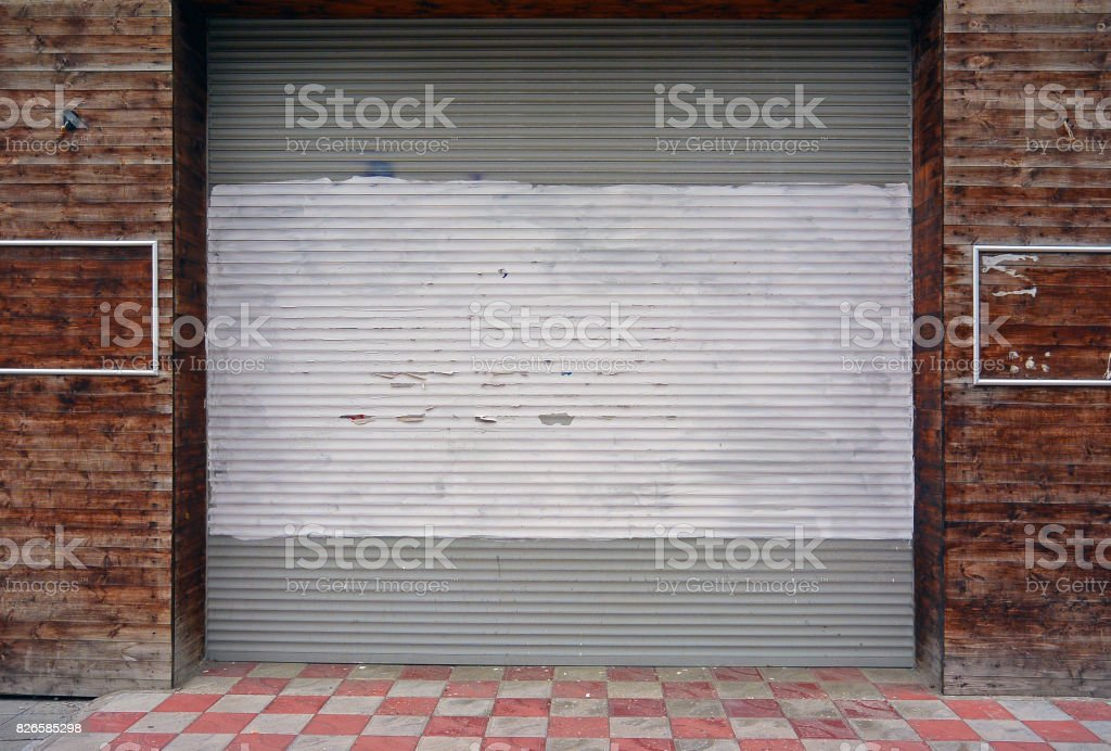 Corrugated Metal Sheet Background,white Painted Slide Door On Wooden Walls  Royalty Free Stock