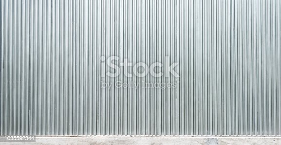 Corrugated metal wall background.