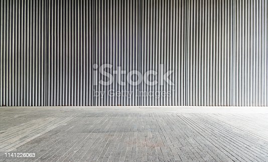 Corrugated metal wall and flooring background.