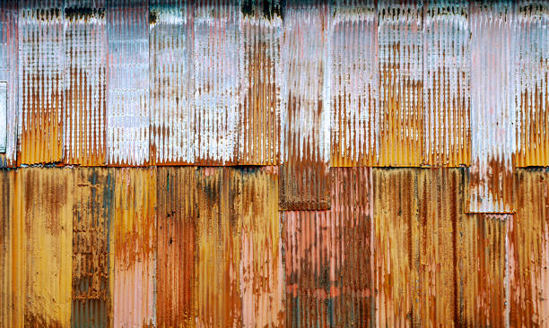 Corrugated Metal Wall - from a building in Ketchikan, Alaska - with fading colors for use as a Background