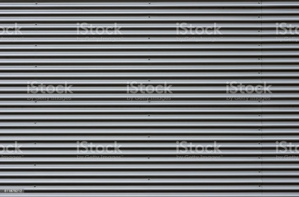 Corrugated sheet metal facade stock photo