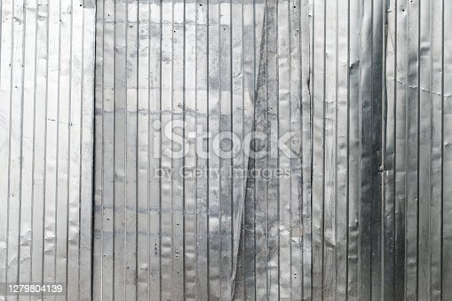 Corrugated shiny metal wall background photo texture