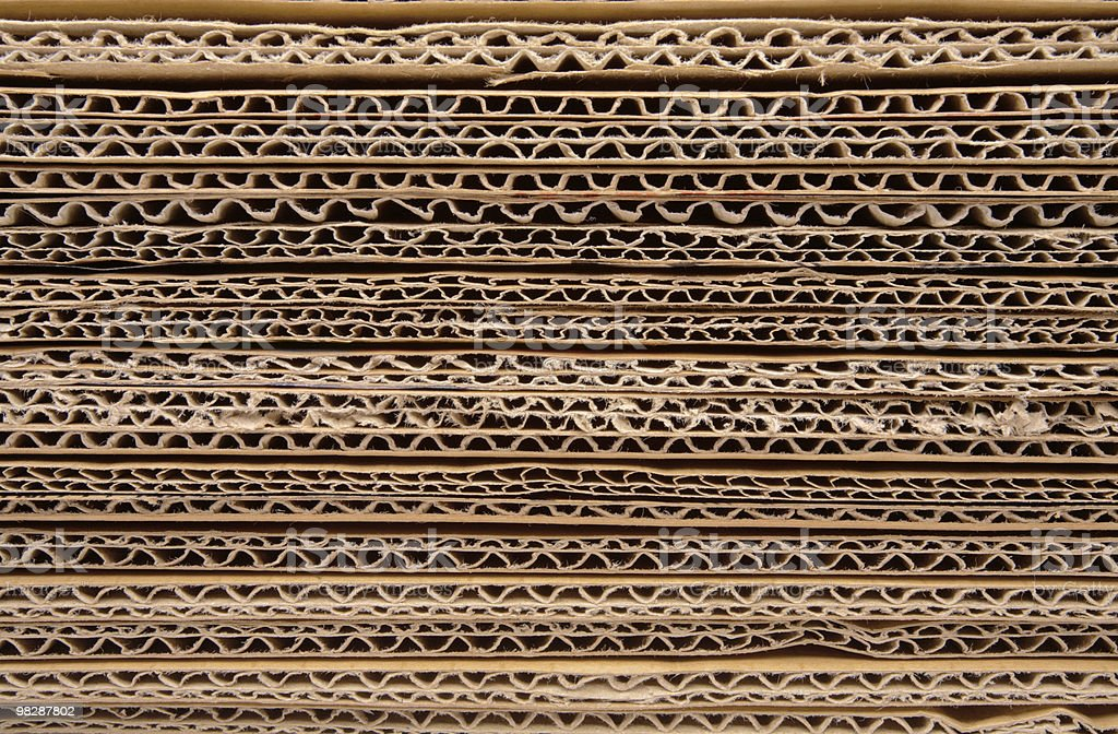 Corrugated stacked cardboard royalty-free stock photo