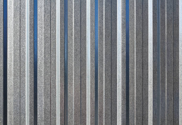 Corrugated steel background or textured surface. stock photo