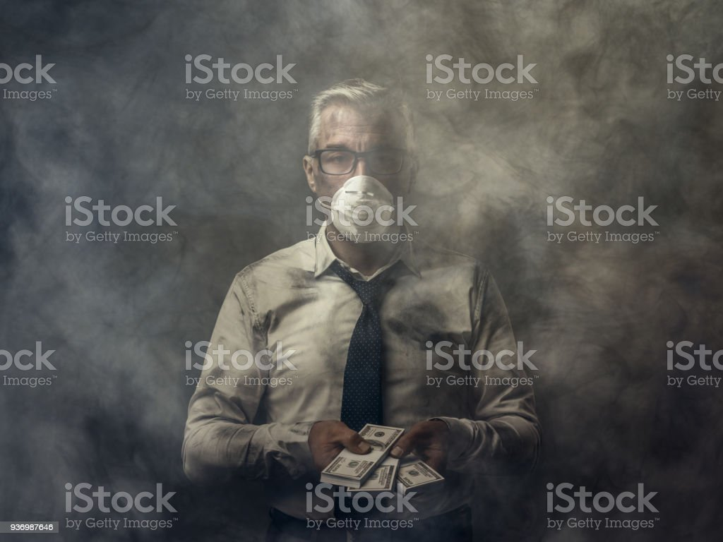 Corruption, pollution and economical interests stock photo