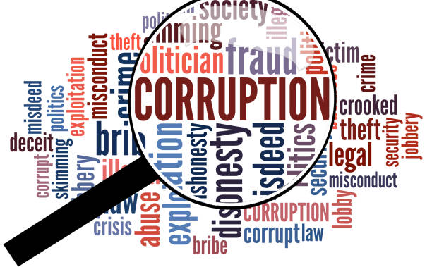Corruption word cloud stock photo