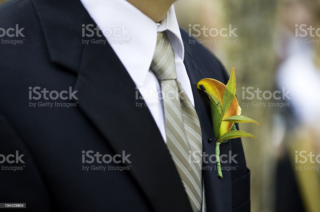 Corsage Flower on Groom at Wedding royalty-free stock photo