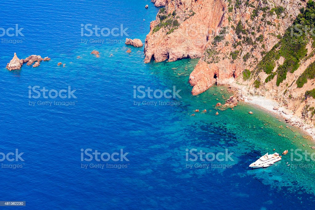 Corsica island, Gulf of Porto. Coastal landscape stock photo