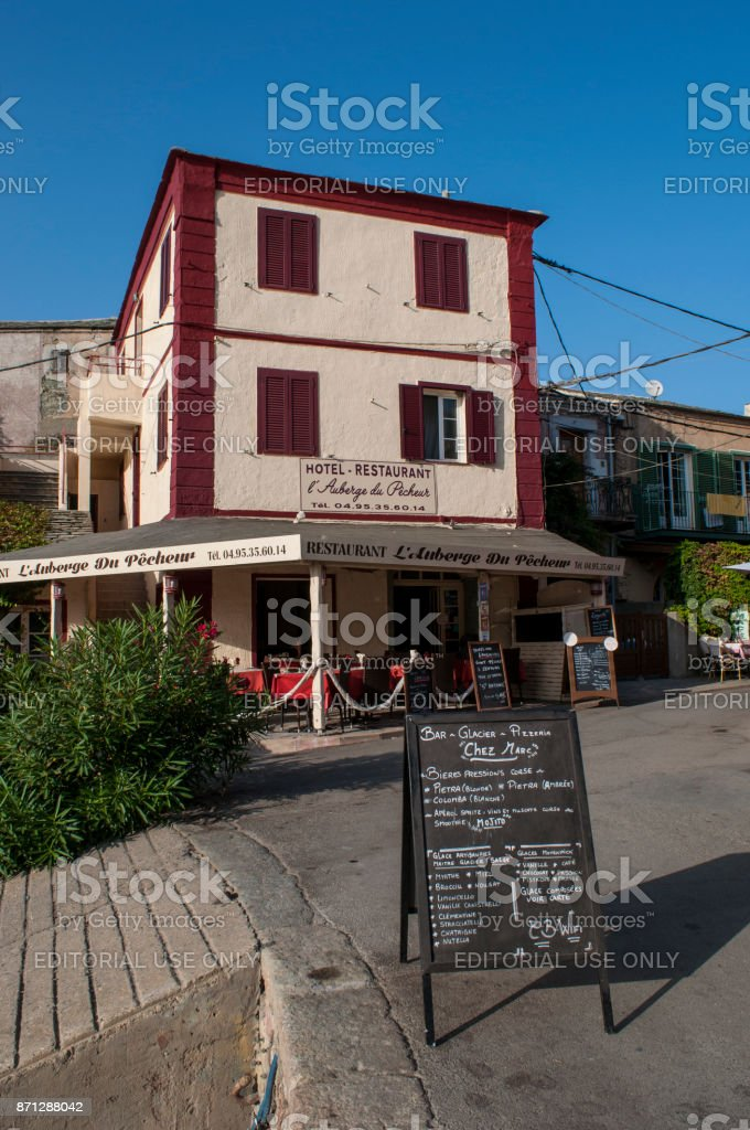 Corsica: one of the restaurants of Centuri Port, the little harbour town on the Cap Corse peninsula stock photo