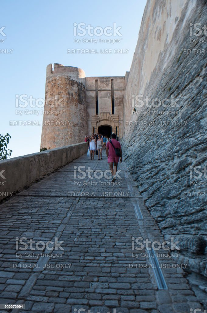 Corsica: the ascent to the Citadel and walls of the old town of Bonifacio, city at the southern tip of the island stock photo
