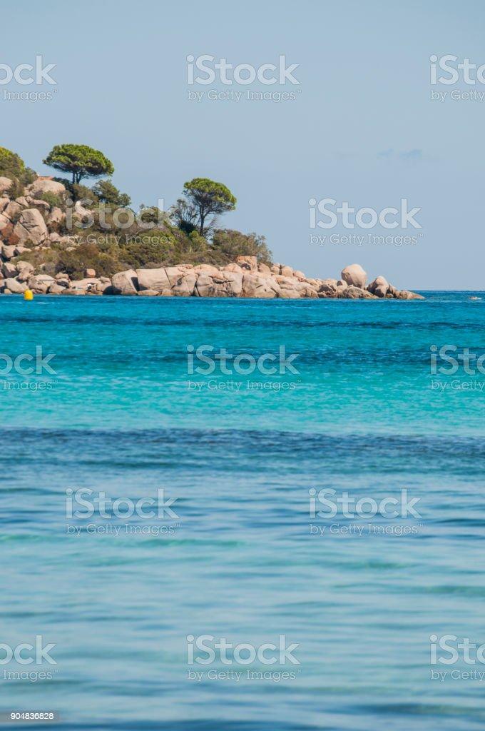 Corsica: the Mediterranean Sea and the coastline at the Santa Giulia beach, a long white sand beach, one of the most famous of the southern coast of the island, near Porto Vecchio stock photo