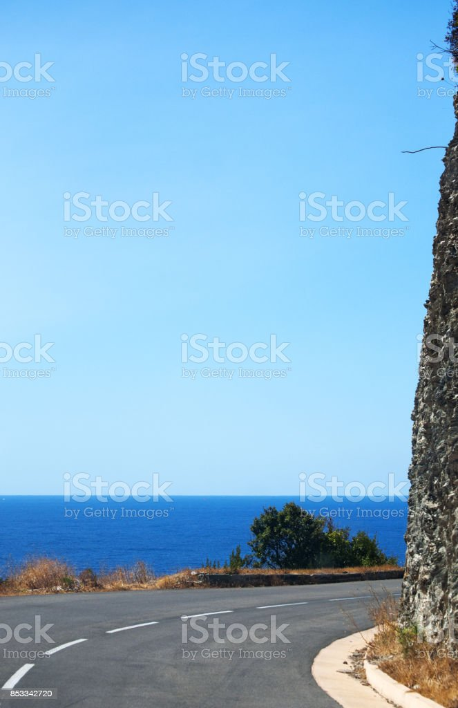 Corsica: the Mediterranean Sea, the Mediterranean maquis and the winding roads of the western side of Cap Corse stock photo