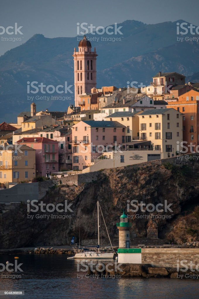 Corsica: the skyline of Bastia, the city in the northeast, at the base of the Cap Corse, seen from the dock of the main port of the island from which ferries and cruises depart and arrive stock photo