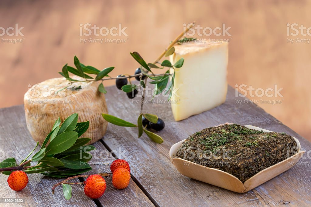 Corsican traditional various goat cheese with arbitys bayberry s on woodenbackground stock photo