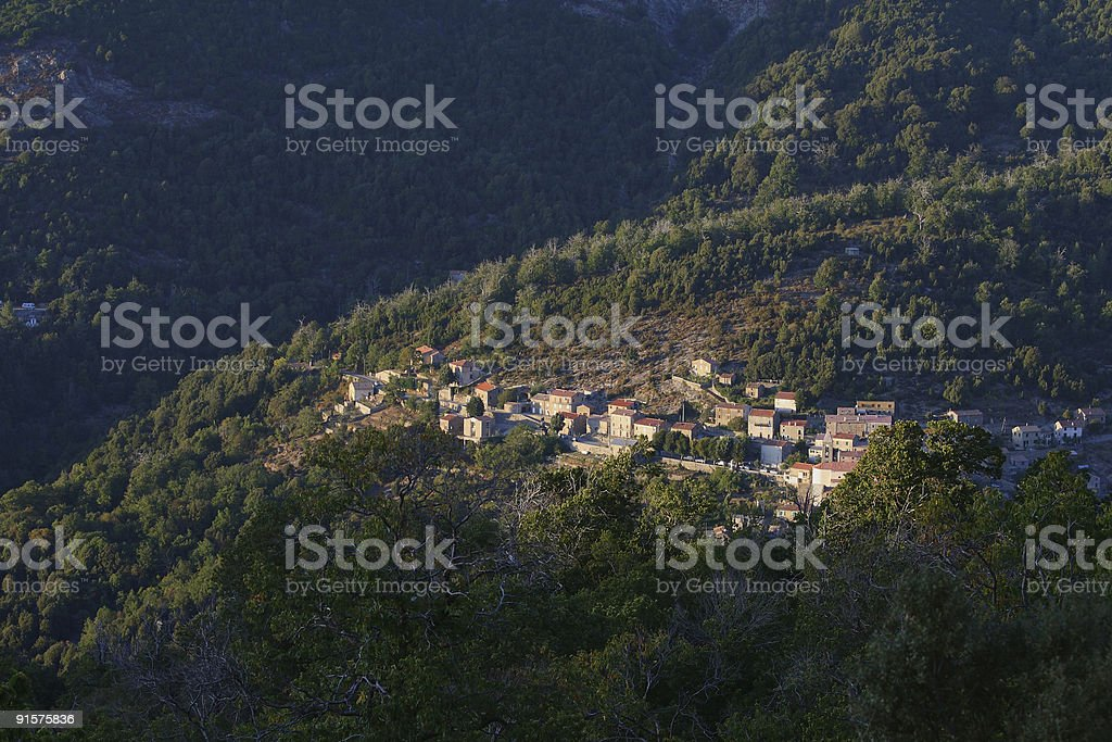 Corsican village in the mountain stock photo