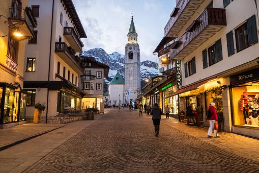 Corso Italia in Cortina d'Ampezzo on a Winter Evening