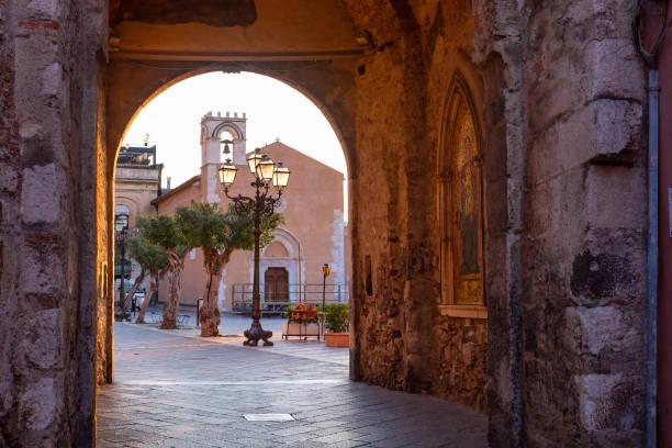 Corso Umberto street in Taormina, Sicily, Italy stock photo