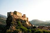 Morning scenery in Corte citadel in Corsica island - France